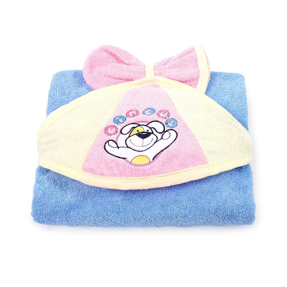 Пеленка-полотенце с варежкой – Циркус, голубое