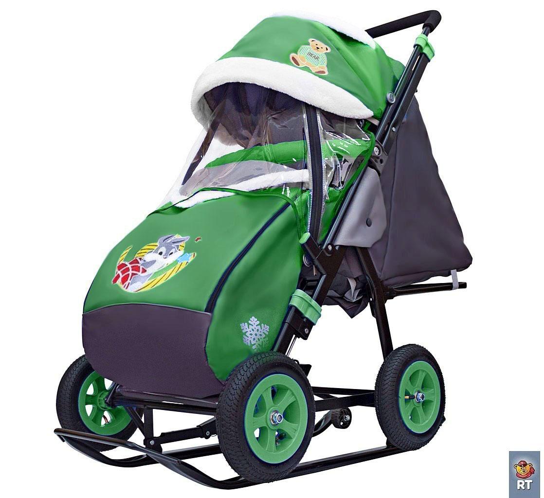 Санки-коляска Snow Galaxy - City-1-1 - Серый Зайка, цвет зеленый на больших надувных колесах, сумка, варежки