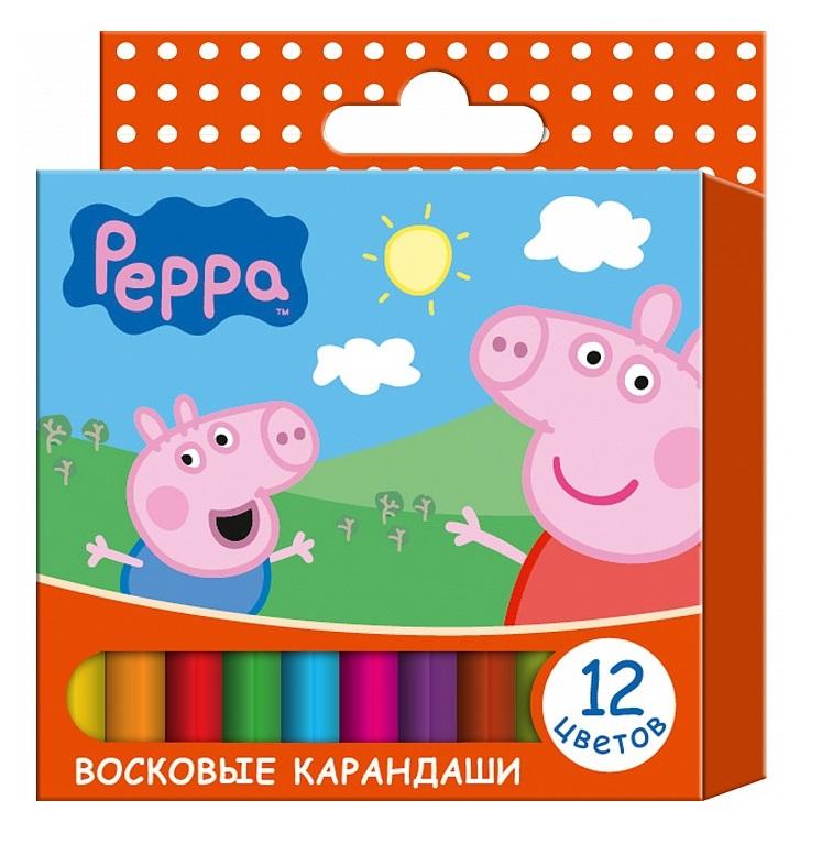 Восковые карандаши «Свинка Пеппа» 12 цветовСвинка Пеппа (Peppa Pig )<br>Восковые карандаши «Свинка Пеппа» 12 цветов<br>