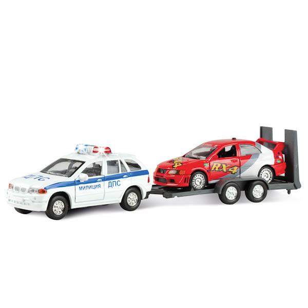 Эвакуатор Дпс/ Техпомощь с машиной, металлический инерционныйПолицейские машины<br>Эвакуатор Дпс/ Техпомощь с машиной, металлический инерционный<br>