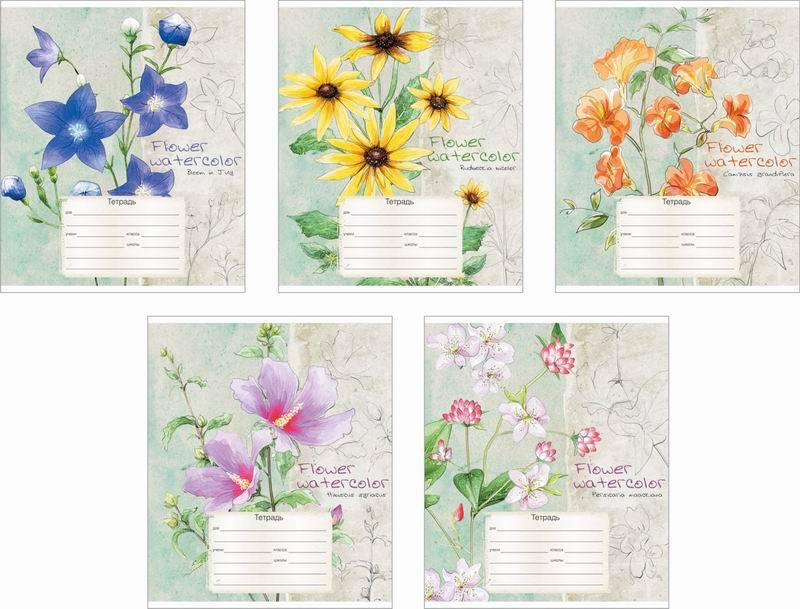 Ученическая тетрадь Flower Watercolor, в линейку, 12 листовТетради<br>Ученическая тетрадь Flower Watercolor, в линейку, 12 листов<br>