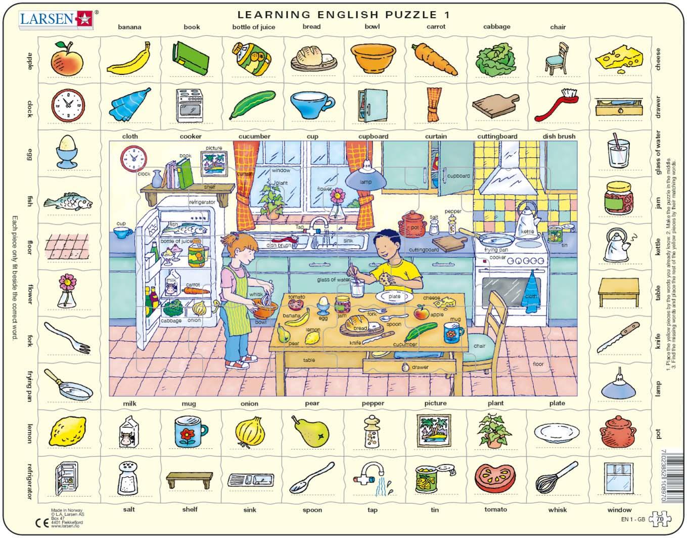 Купить Обучающий пазл – Изучаем английский 1, 70 деталей, Larsen