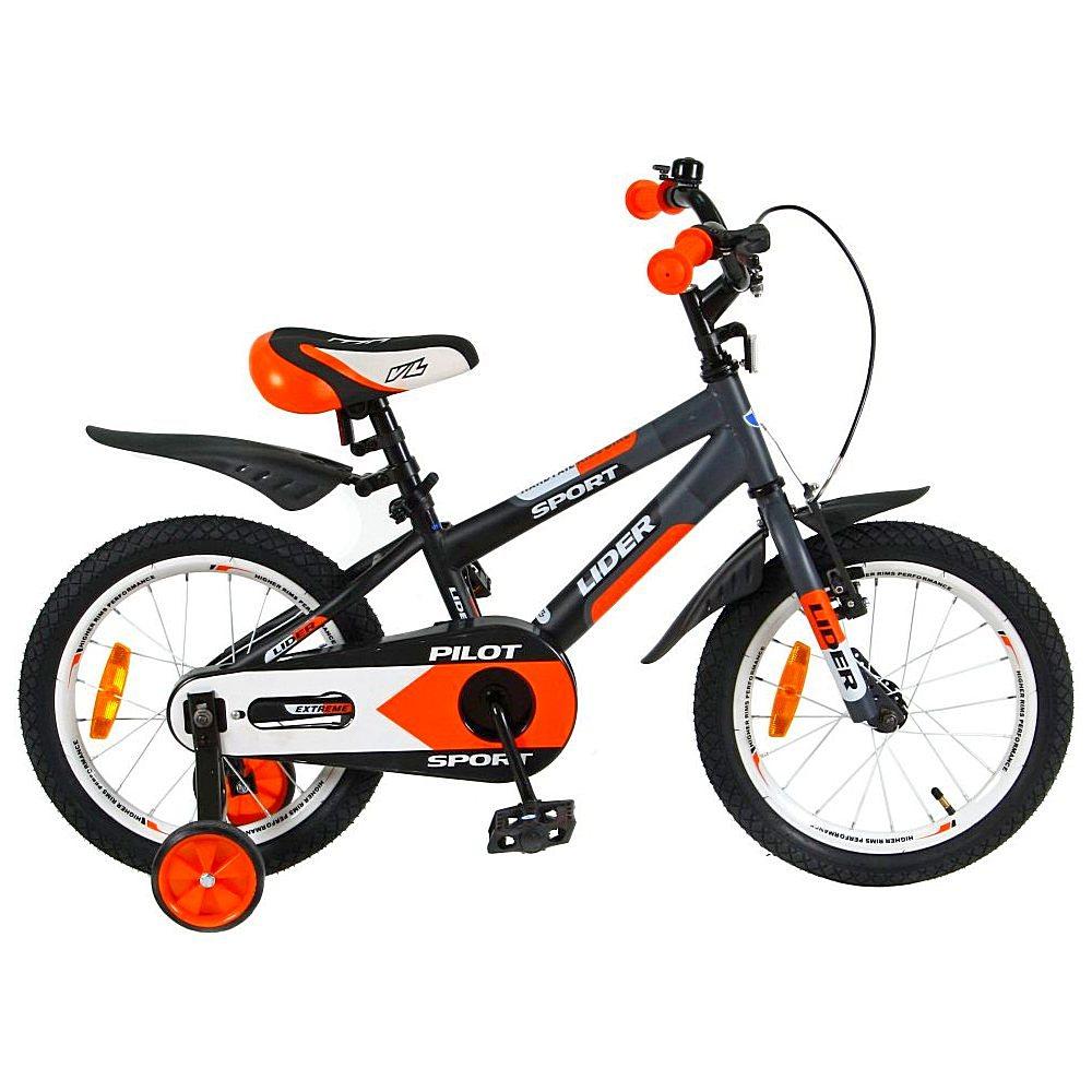 Двухколесный велосипед Lider Pilot, диаметр колес 16 дюймов, черный/оранжевыйВелосипеды детские<br>Двухколесный велосипед Lider Pilot, диаметр колес 16 дюймов, черный/оранжевый<br>