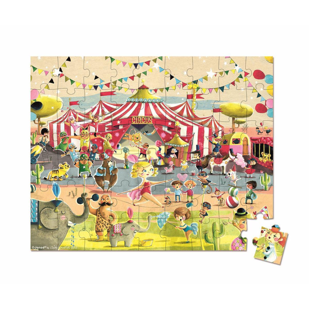 Большой пазл в круглом чемоданчике – Цирк, 54 элементаПазлы до 100 элементов<br>Большой пазл в круглом чемоданчике – Цирк, 54 элемента<br>