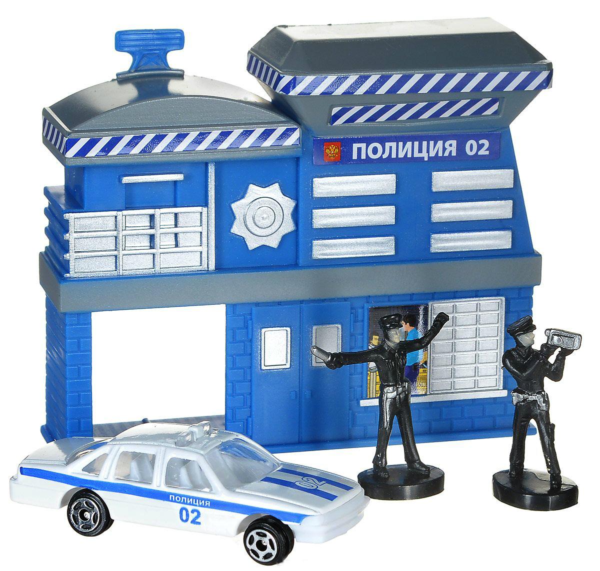 Набор - Полицейская часть с металлической машиной 7,5 см и 2-мя фигуркамиПолицейские машины<br>Набор - Полицейская часть с металлической машиной 7,5 см и 2-мя фигурками<br>