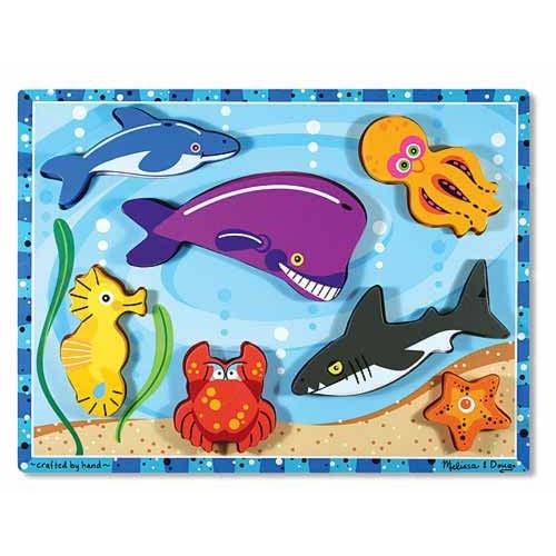 Купить Мои первые пазлы - Морские обитатели, 7 объемных элементов, Melissa&Doug