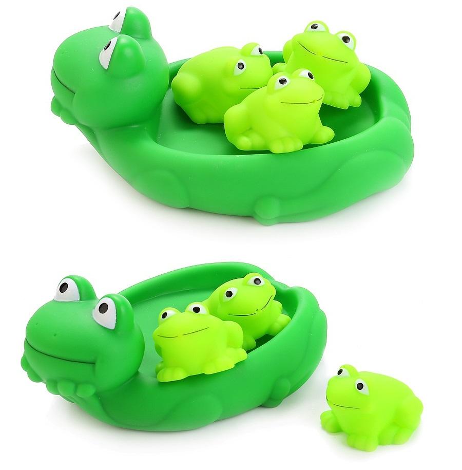 Купить со скидкой Игрушки для ванной – Лягушка-мыльница и 3 лягушонка, в сетке