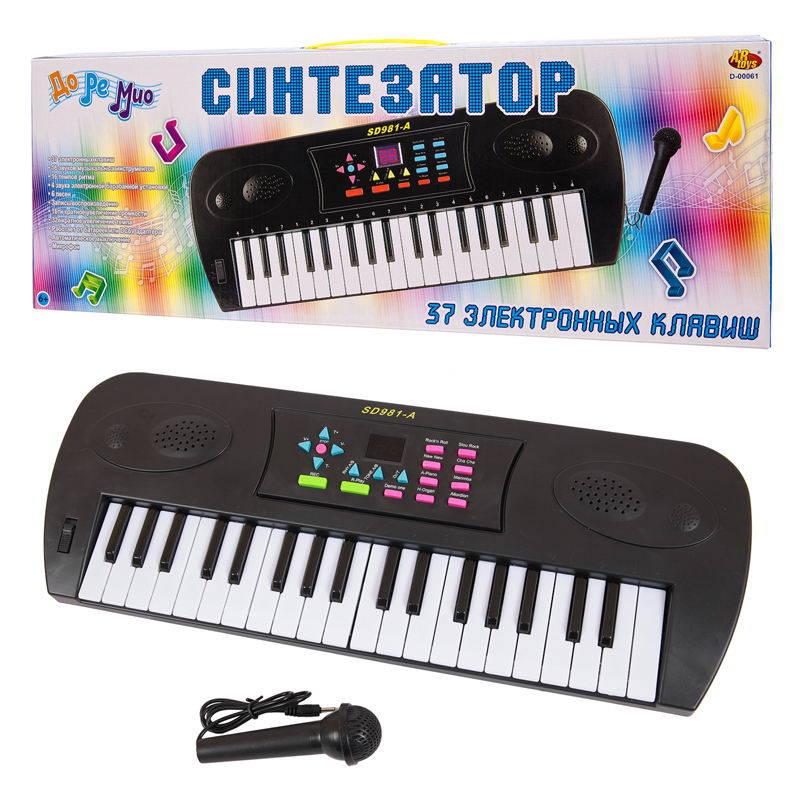 Синтезатор черный 37 клавиш, с микрофоном и дисплеем, электромеханический, работает от батареек фото