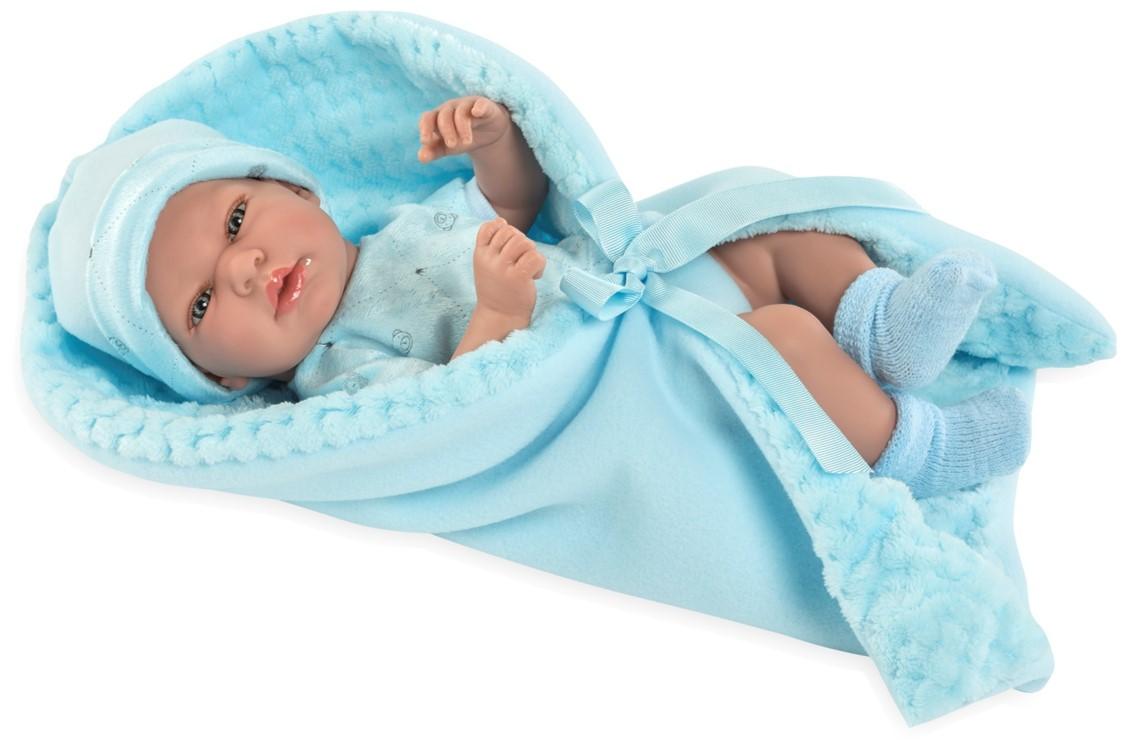 Купить Кукла из коллекции Elegance, пупс виниловый в одежде с голубым одеялом и соской, 38 см, Arias