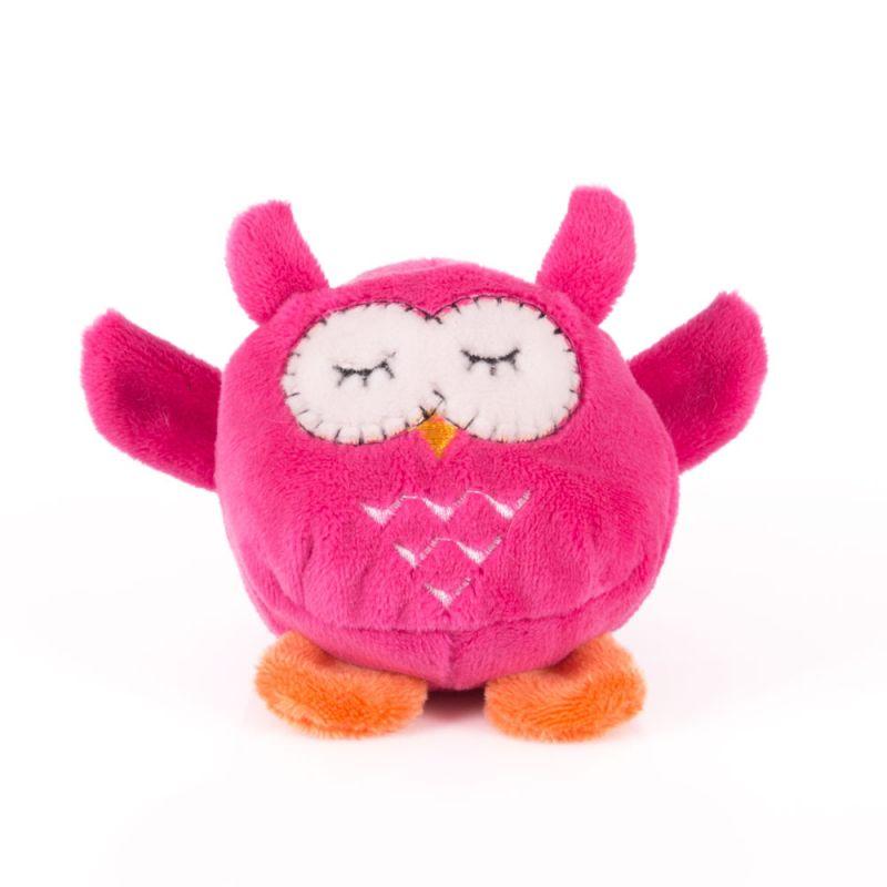 Мячик мягкий - Розовая сова, 7 см.