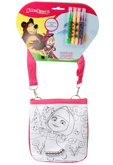 Набор для творчества – сумочка для росписи Маша и медведьДетские сумочки<br>Набор для творчества – сумочка для росписи Маша и медведь<br>