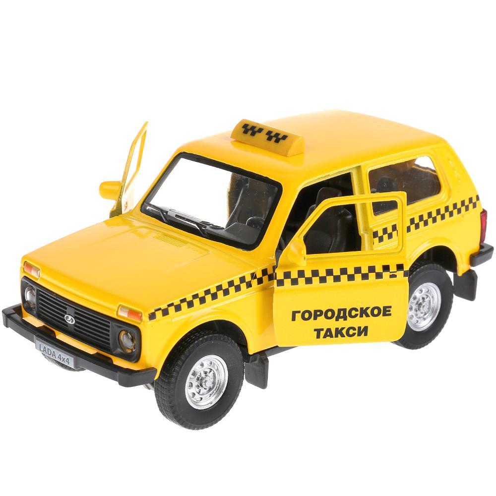 Купить Lada 4x4 Такси - металлическая инерционная машина, 12 см, открываются двери, Технопарк