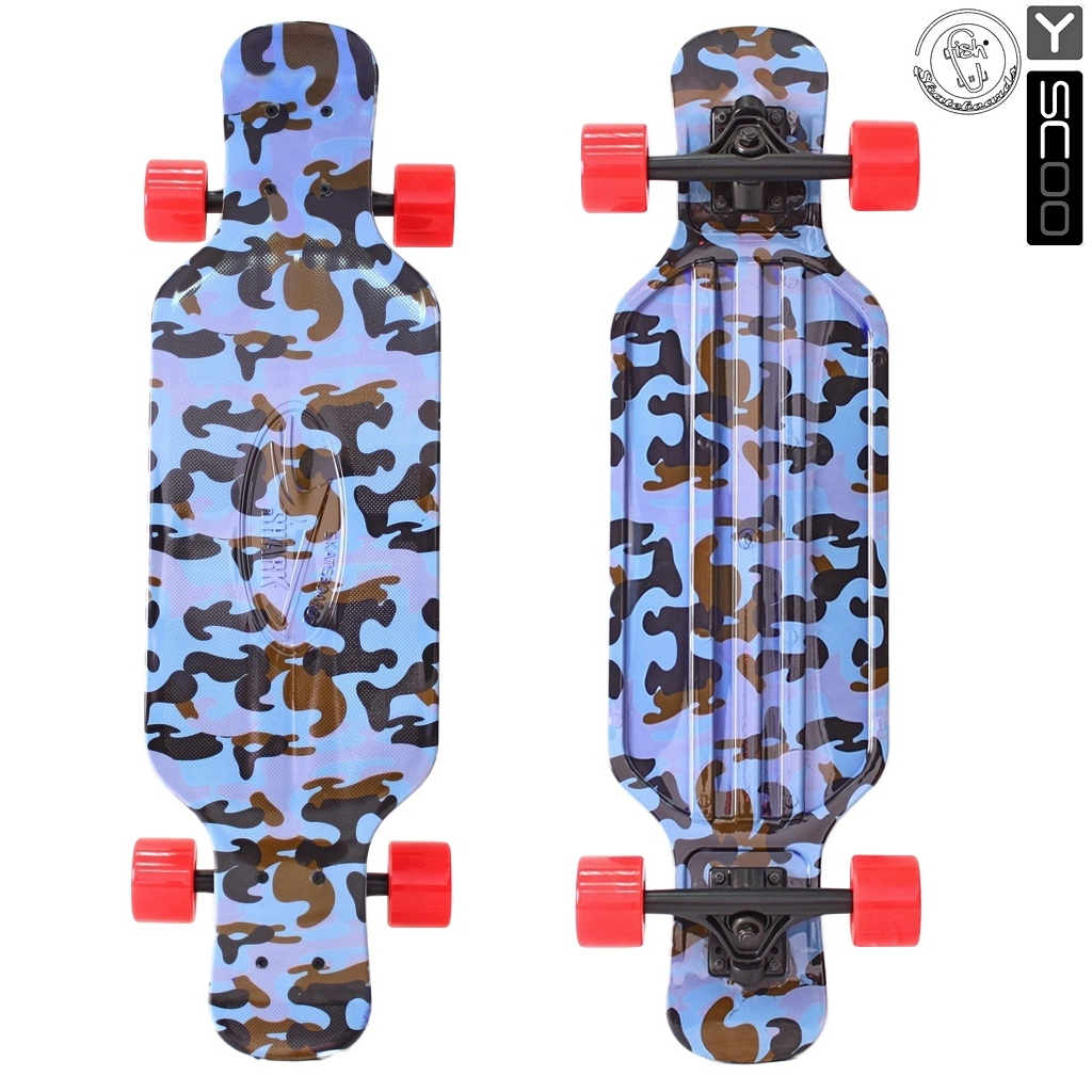Купить Скейтборд пластиковый Y-Scoo Longboard Shark Tir 31 408-Ba с сумкой, цвет - голубой хаки, RT