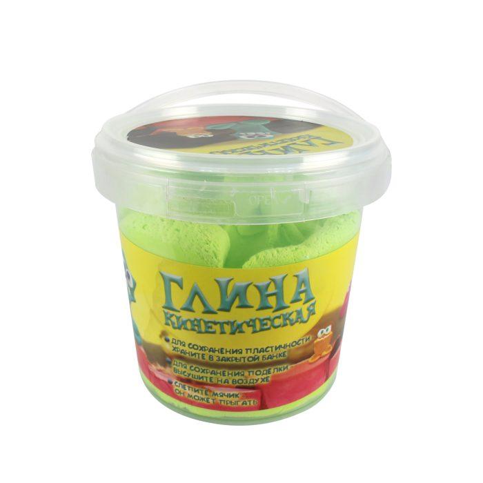 Кинетическая глина травянисто-зеленая, банка 200 гр.