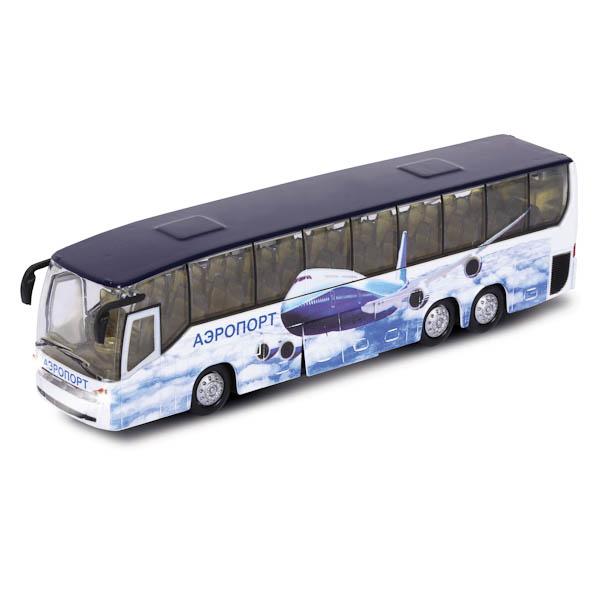 Купить Автобус Аэропорт, свет-звук, открываются двери, металлический инерционный, Технопарк