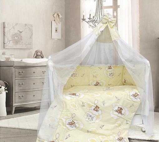 Комплект в кроватку - Сладкий сон, 7 предметов, бежевыйДетское постельное белье<br>Комплект в кроватку - Сладкий сон, 7 предметов, бежевый<br>