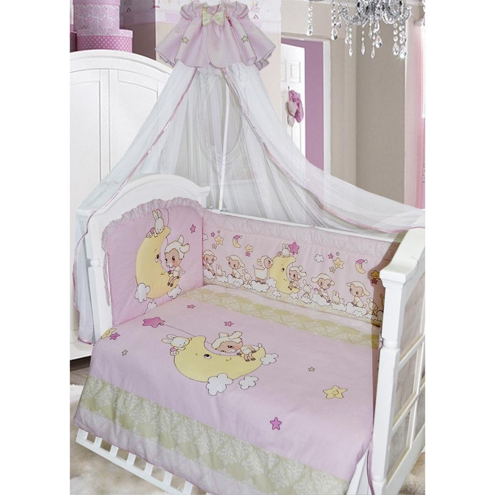 Комплект в кроватку 7 предметов - Овечка на луне, розовыйДетское постельное белье<br>Комплект в кроватку 7 предметов - Овечка на луне, розовый<br>
