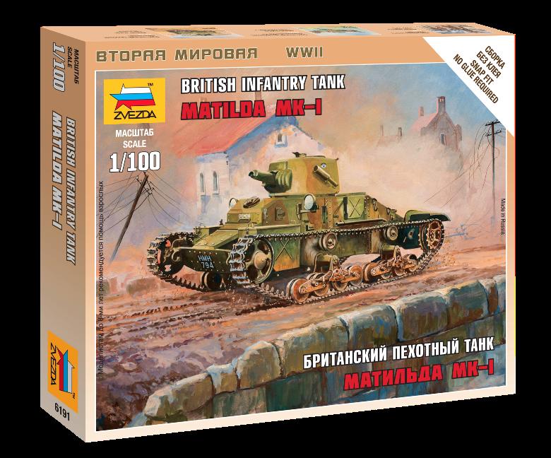 Модель сборная - Британский танк Матильда Mk-1Модели танков для склеивания<br>Модель сборная - Британский танк Матильда Mk-1<br>