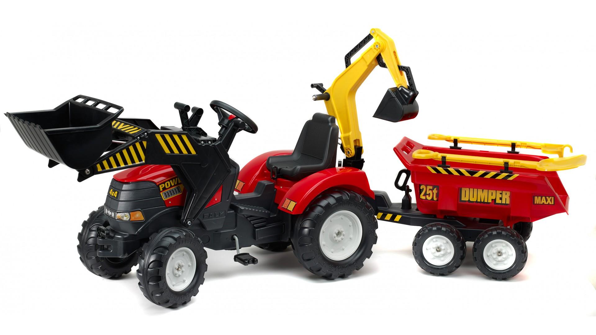 Купить Трактор-экскаватор педальный с прицепом, красный, 225 см., Falk