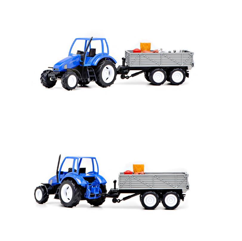 Трактор с прицепом, свет и звук, с животными, инерционный sim) от Toyway