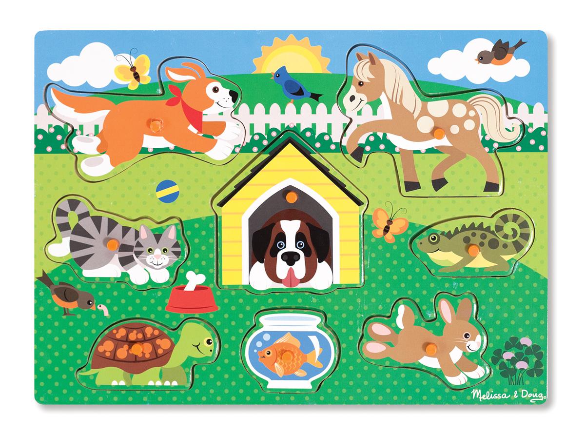 Мои первые пазлы - Домашние животные, 8 деталей с кнопкамиПазлы для малышей<br>Мои первые пазлы - Домашние животные, 8 деталей с кнопками<br>