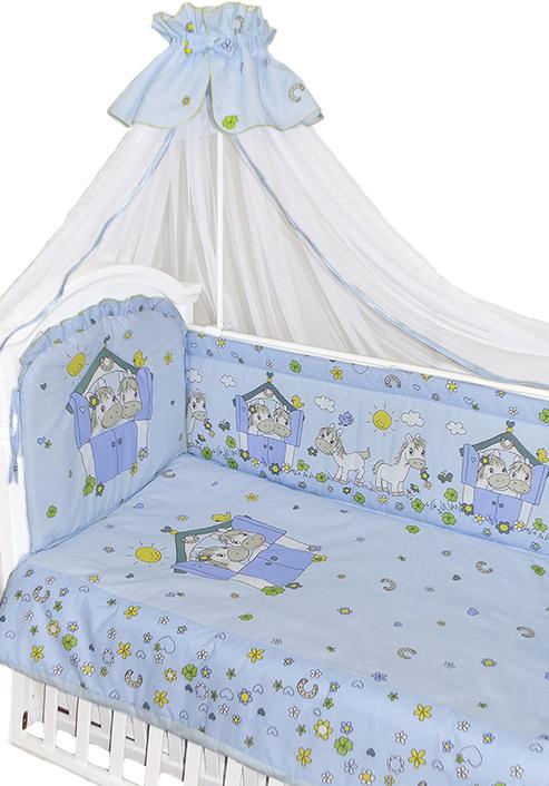 Комплект в кроватку – Лошадки, 7 предметов, голубойДетское постельное белье<br>Комплект в кроватку – Лошадки, 7 предметов, голубой<br>