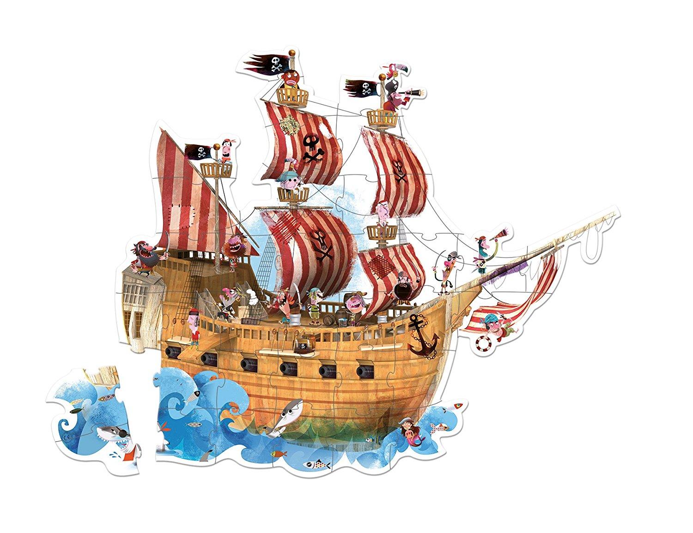 Большой пазл в круглом чемоданчике Пиратский корабль, 39 деталейПазлы до 100 элементов<br>Большой пазл в круглом чемоданчике Пиратский корабль, 39 деталей<br>