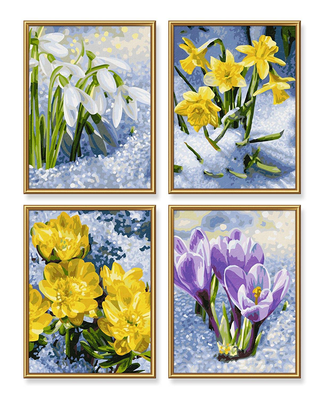 Весеннее пробуждение цветов - 4 картины для раскрашивания, 18х24см.Раскраски по номерам Schipper<br>Весеннее пробуждение цветов - 4 картины для раскрашивания, 18х24см.<br>
