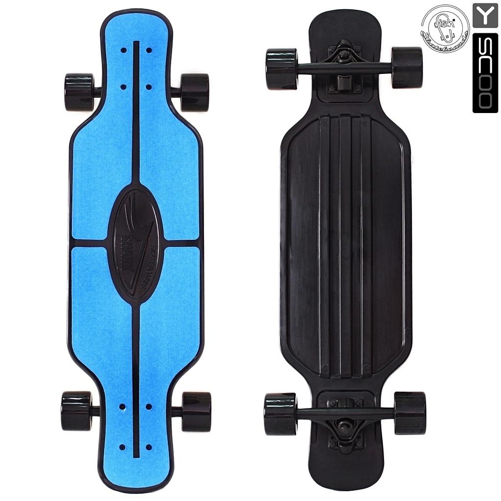 Скейтборд пластиковый Y-Scoo Longboard Shark Tir 31 408-B с сумкой, черно-синийДетские скейтборды<br>Скейтборд пластиковый Y-Scoo Longboard Shark Tir 31 408-B с сумкой, черно-синий<br>