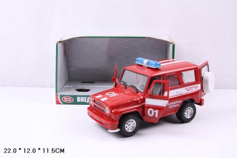 Модель УАЗ Hunter, пожарная, 23 см, инерционная, открываются двери, свет и звук фото