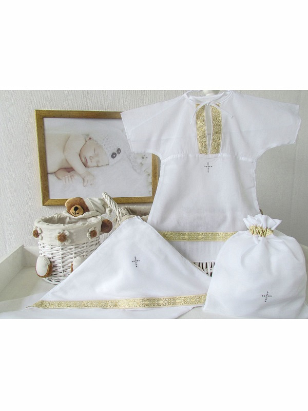 Купить Крестильный набор для мальчика Классика 3 предмета, цвет: белый-золото, от 0 до 3 мес., Makkaroni Kids