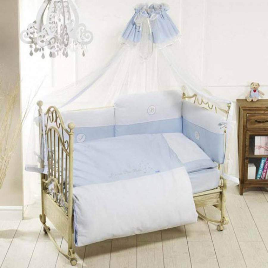 Комплект постельного белья Petit Bebe, 6 предметов, голубойДетское постельное белье<br>Комплект постельного белья Petit Bebe, 6 предметов, голубой<br>