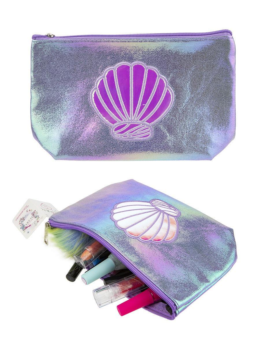 Косметичка фиолетовая эффект под кожу с аппликацией Ракушка, 22 х 13 см, бирка, пакет