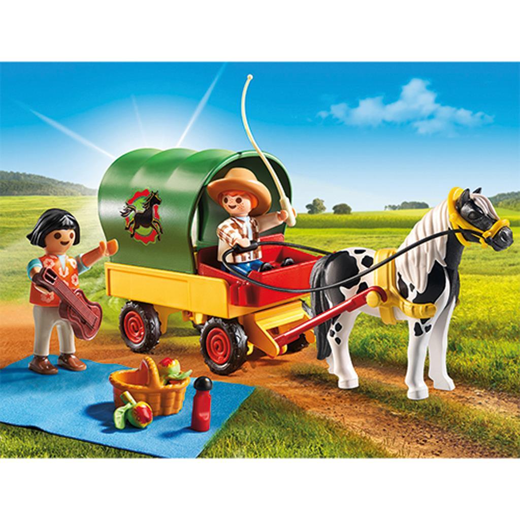 Купить Игровой набор - Ферма Пони: Пикник с коневозкой, Playmobil