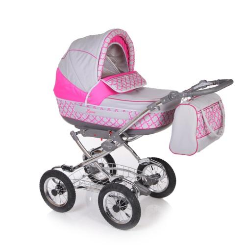 Коляска классическая 2 в 1 – Laura Соты, серый/розовыйДетские коляски 2 в 1<br>Коляска классическая 2 в 1 – Laura Соты, серый/розовый<br>