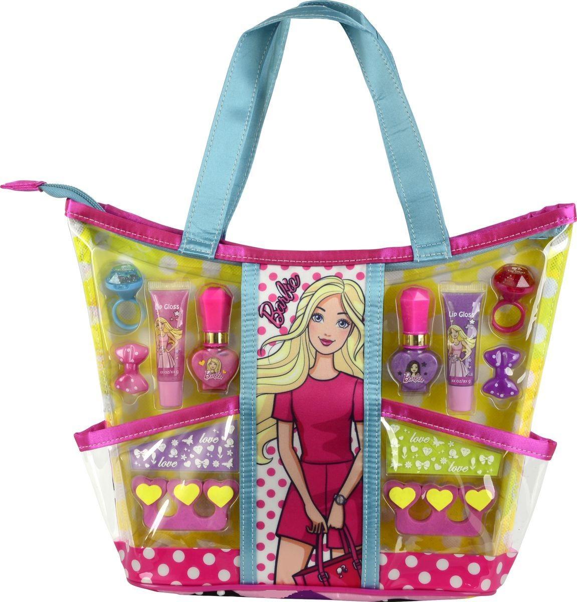 Игровой набор детской декоративной косметики - Barbie, с сумкойЮная модница, салон красоты<br>Игровой набор детской декоративной косметики - Barbie, с сумкой<br>