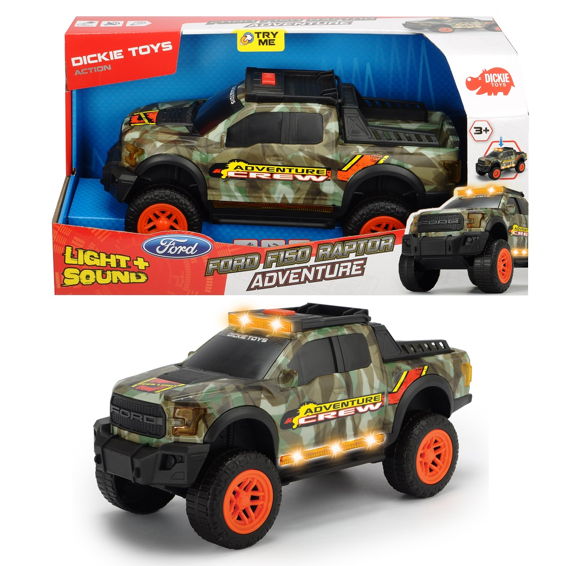 Купить Машинка Adventure Ford F150 Raptor, уникальный камуфляж, свет, звук, музыка, свободный ход, 33 см., Dickie Toys