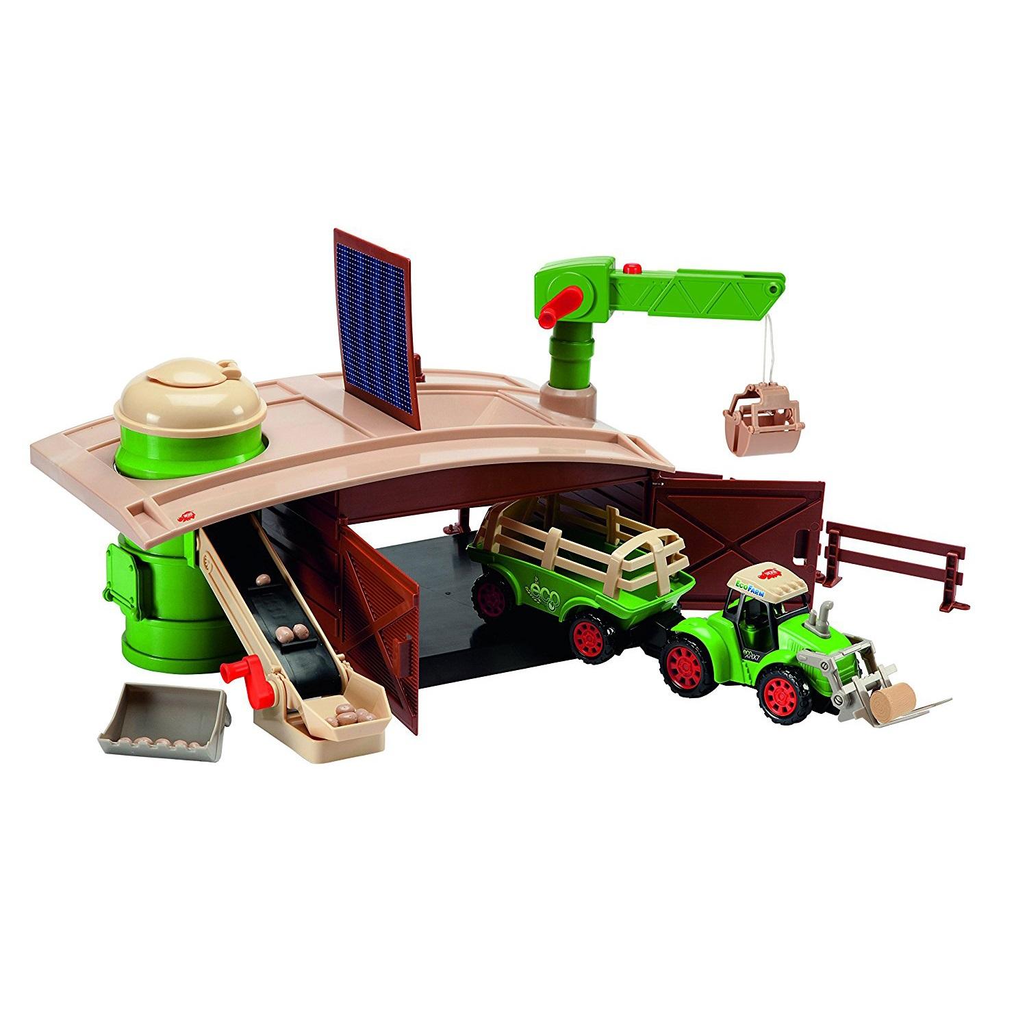 Большой набор Эко-ферма с трактором и краном - Игровые наборы Зоопарк, Ферма, артикул: 154373