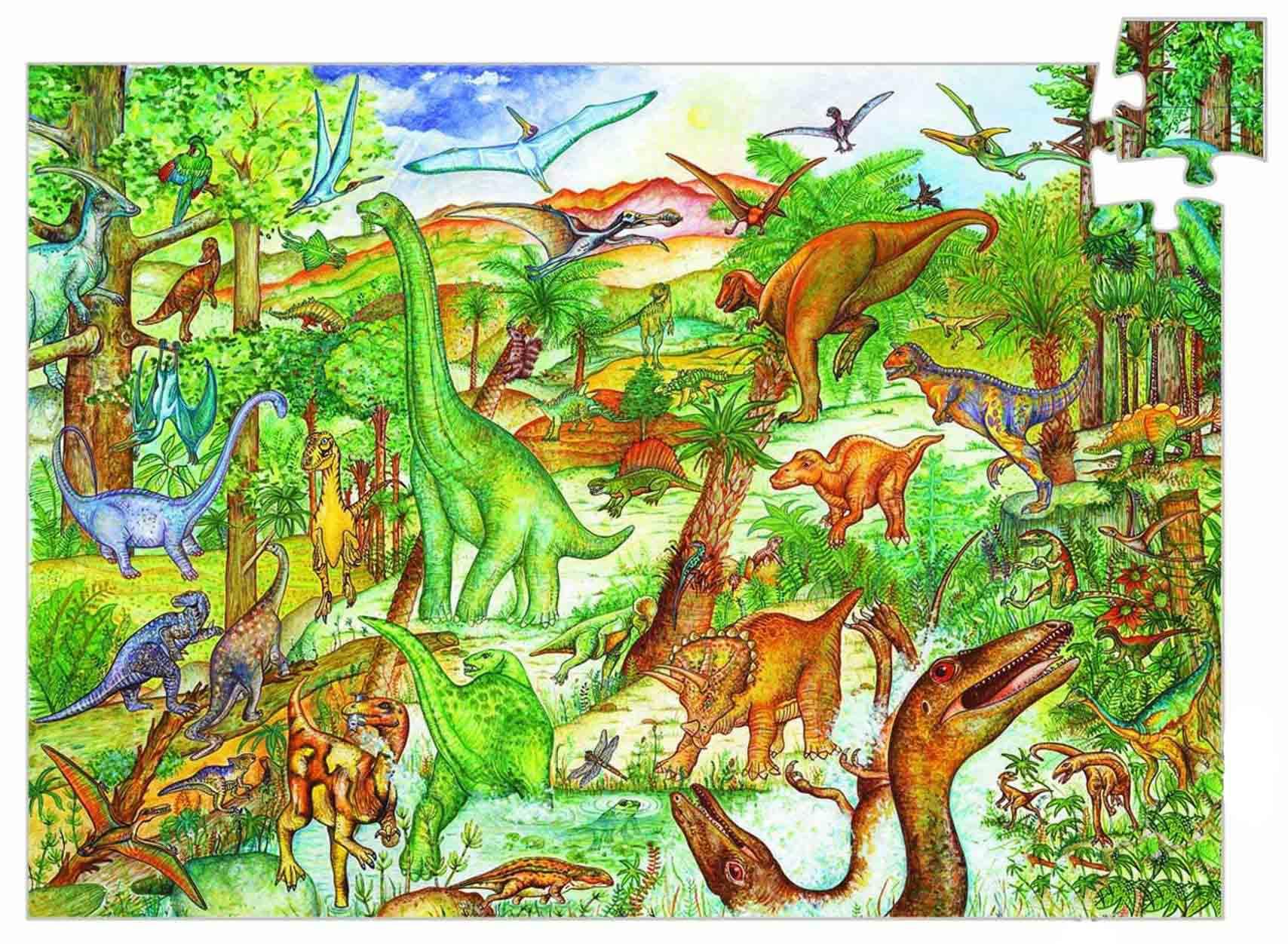 Купить Пазл на наблюдательность и буклет - Динозавры, Djeco