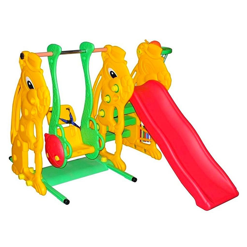 Игровой комплекс для детей: горка, качели, баскетбольное кольцо, металлофон. ЗаяцДетские игровые горки<br>Игровой комплекс для детей: горка, качели, баскетбольное кольцо, металлофон. Заяц<br>