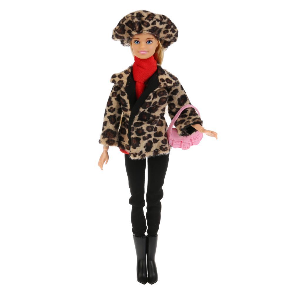 Купить Кукла София в леопардовом пальто и шапке с аксессуарами, 29 см, Карапуз