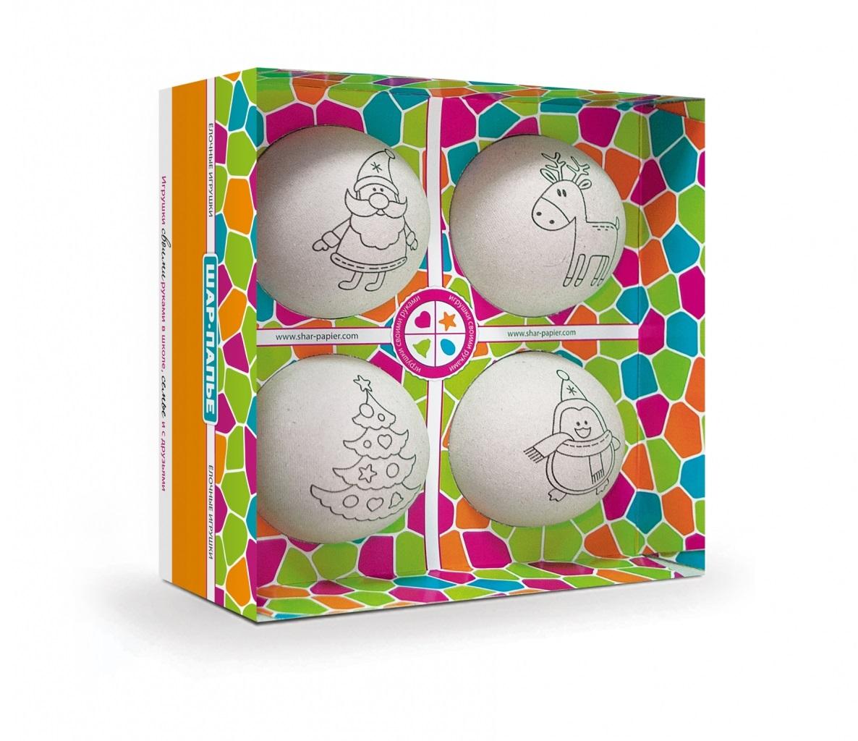 Набор из серии Шар-Папье - Ёлочные игрушки, 4 шараПАПЬЕ-МАШЕ<br>Набор из серии Шар-Папье - Ёлочные игрушки, 4 шара<br>