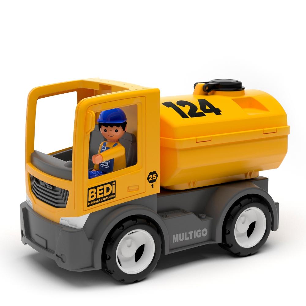 Строительный грузовик-цистерна с водителем, 22 см. фото