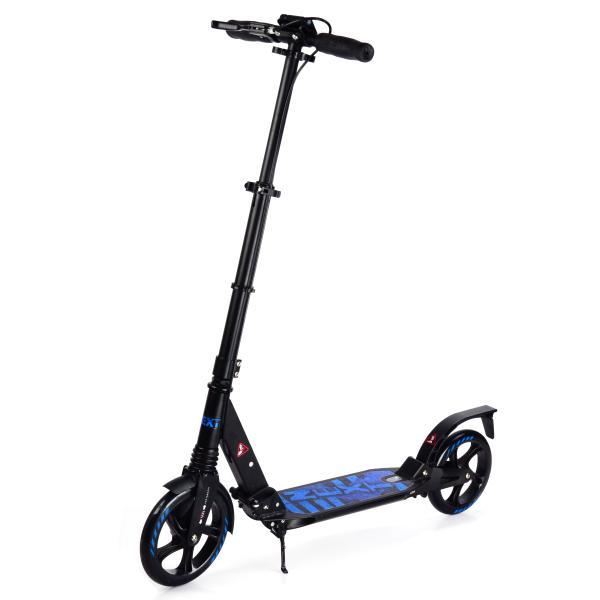 Купить Самокат 2-х колесный складной – Next, черный, с амортизаторами, ручным и ножным тормозом