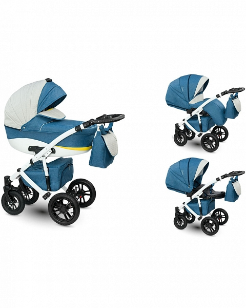 Детская коляска Camarelo Sirion 2 в 1, сине-сераяДетские коляски 2 в 1<br>Детская коляска Camarelo Sirion 2 в 1, сине-серая<br>