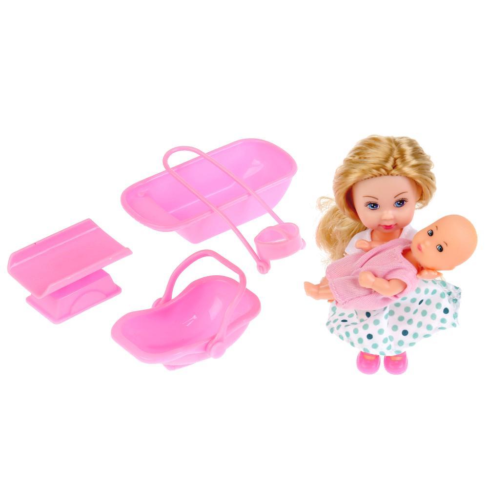 Купить Набор из 2-х кукол - Машенька 12 см. и младшая сестренка 5 см., с аксессуарами, Карапуз