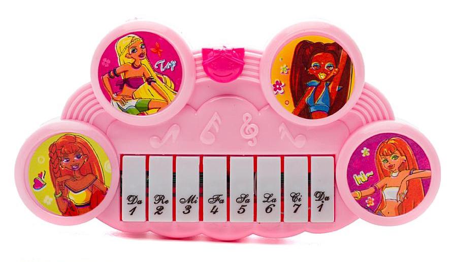 Пианино розовое с декоративными наклейкамиСинтезаторы и пианино<br>Пианино розовое с декоративными наклейками<br>