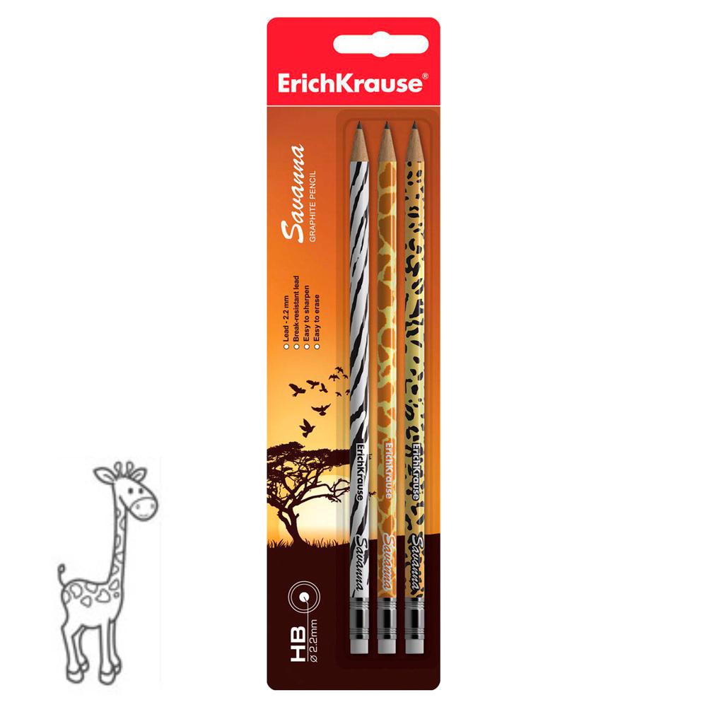 Чернографитные карандаши Savanna с ластиком, 3 шт.Карандаши<br>Чернографитные карандаши Savanna с ластиком, 3 шт.<br>