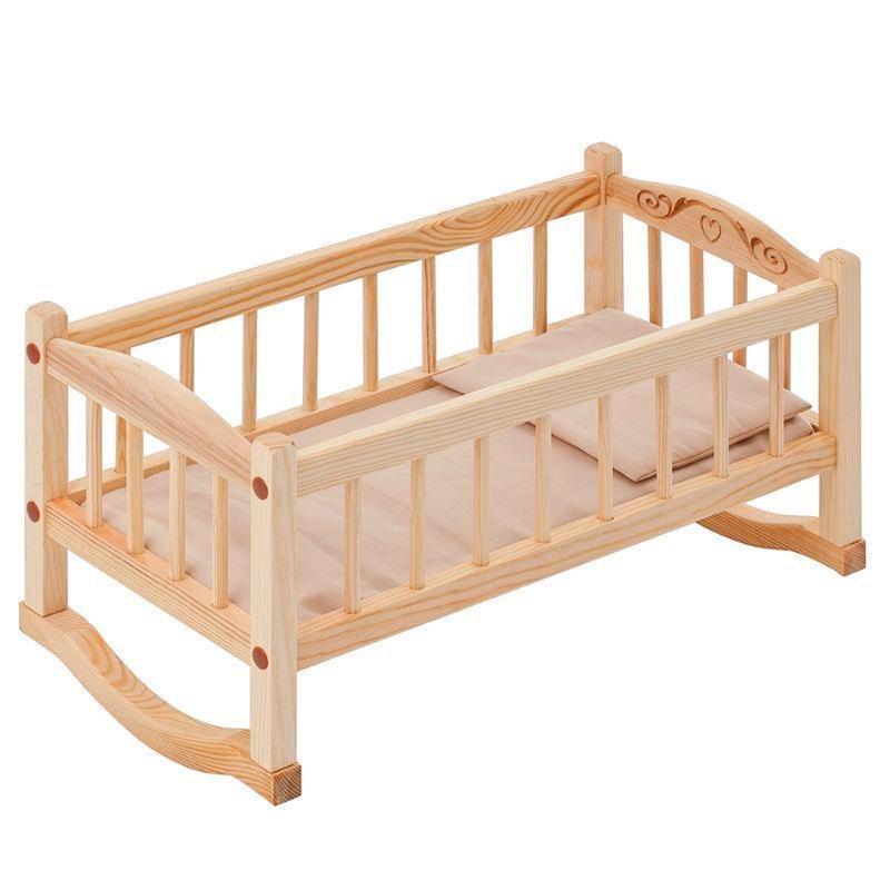 Кукольная люлька из дерева, бежевый текстильДетские кроватки для кукол<br>Кукольная люлька из дерева, бежевый текстиль<br>