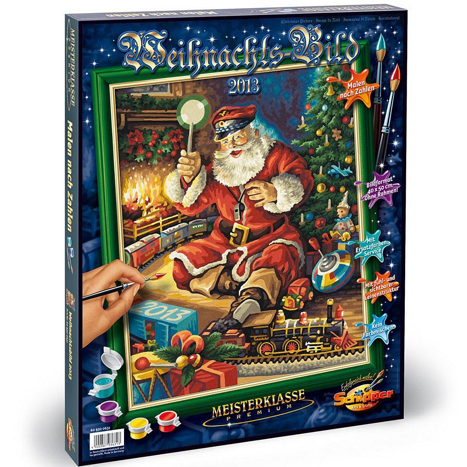 Купить Раскраска по номерам – Санта Клаус с железной дорогой, 40 х 50 см, Schipper